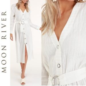 🆕 Moon River White Striped Belted Midi Dress